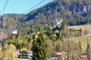 mit der Nebelhornbahn schwebt man direkt über die Erdinger-Arena und die 4 Ski-Sprung-Schanzen