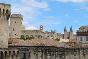 Blick über die Dächer von Avignon auf den Papstpalast