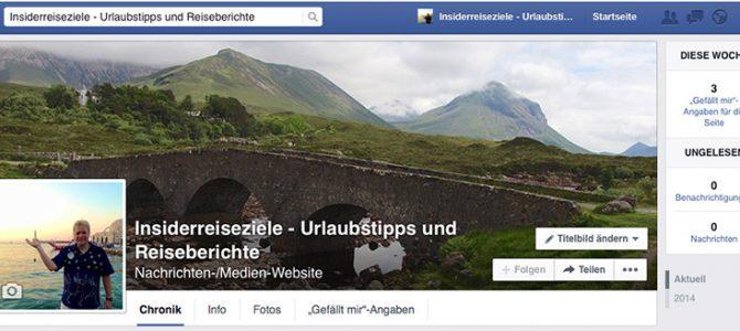 Insiderreiseziele.net nun mit eigener Facebook-Seite