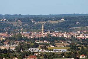 Bergerac vom Chateau Monbazillac aus gesehen