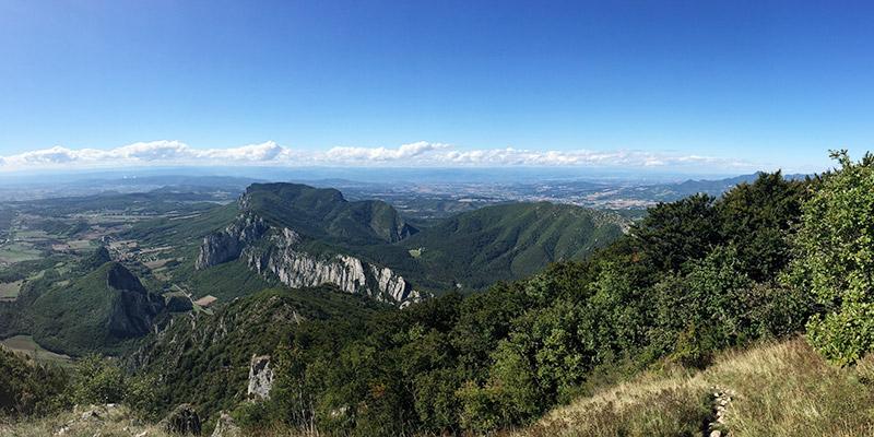 Panoramablick vom Grand Pomerolle auf Saou