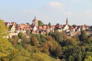 klassisches Stadtpanorama von Rothenburg ob der Tauber