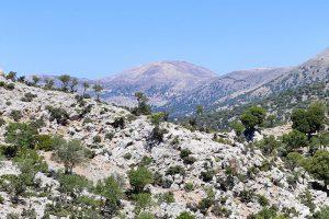 Auf 1752 Meter Höhe sieht man am Horizont auf dem Skinakas die Sternwarte von Kreta