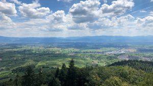 Blick vom Kaiserstuhl nach Freiburg - im Hintergrund der Schwarzwald