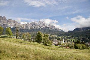 """Blick auf Cortina und die Felswand """"Pomagagnon"""""""